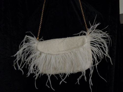 small felted purse white with austriche fringe