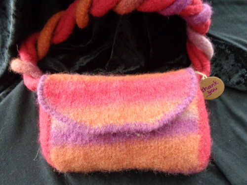 felted purse pink/orange/lilac
