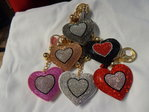 heart with strass - decoration for purse or key - diff.col.