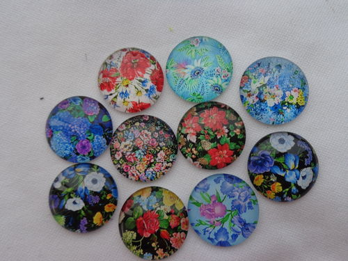 Glascabochons Ø 20mm versch.Blumendesigns