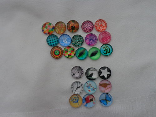 Glascabochons Ø 12mm versch.Designs 2 St./Packung