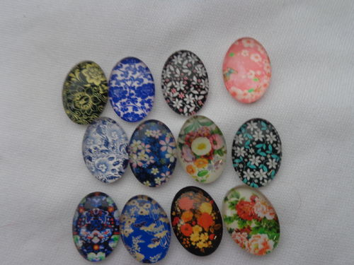 Glascabochons oval 18x25mm versch.Designs